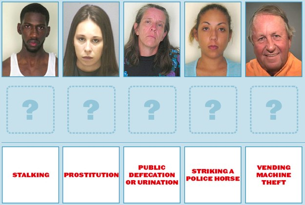 Match the five arrestees with their alleged crimes.